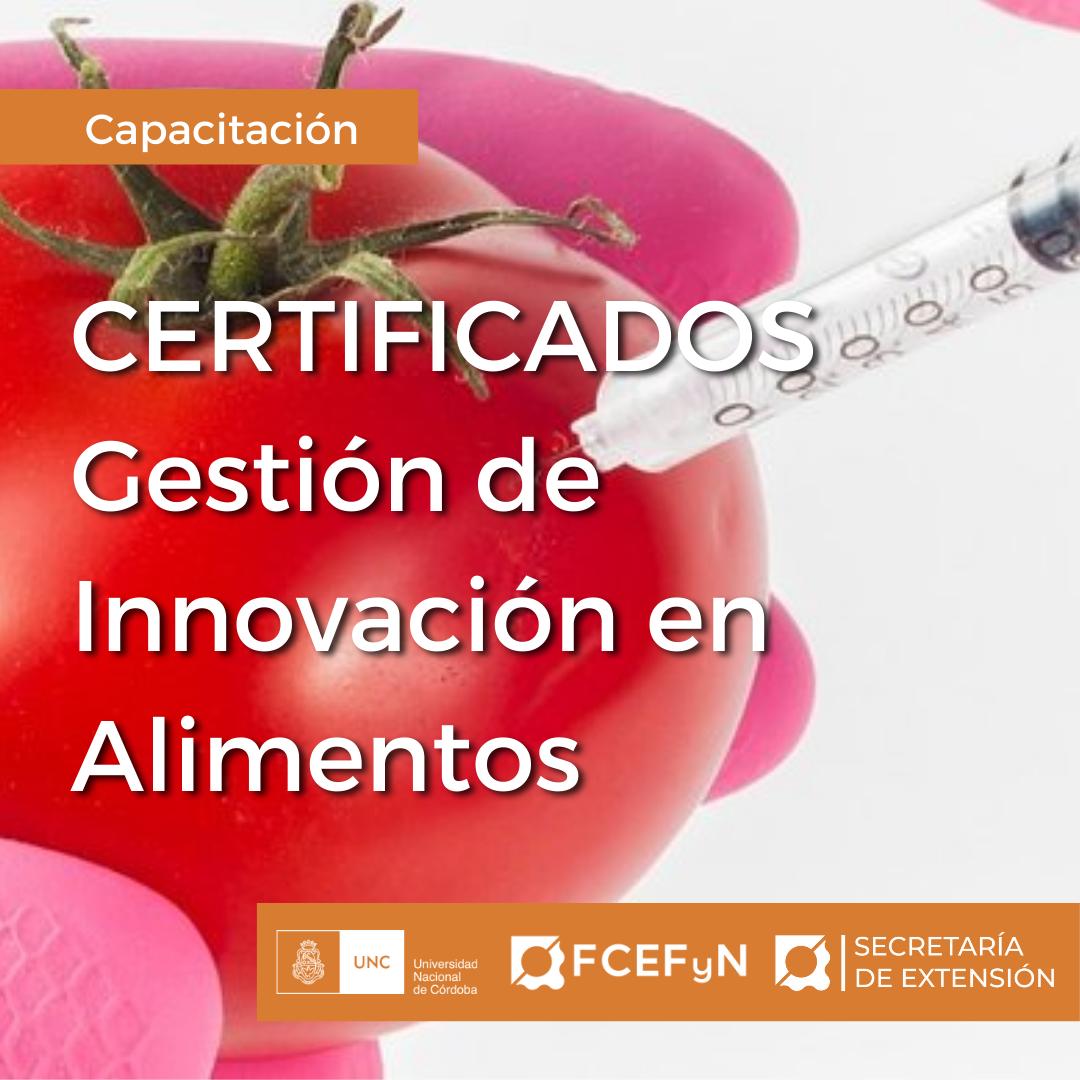 Certificados Gestión de Innovación en Alimentos